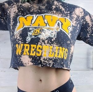 Tops - Navy Wrestling Upcyled Crop Top! Great Workout Top